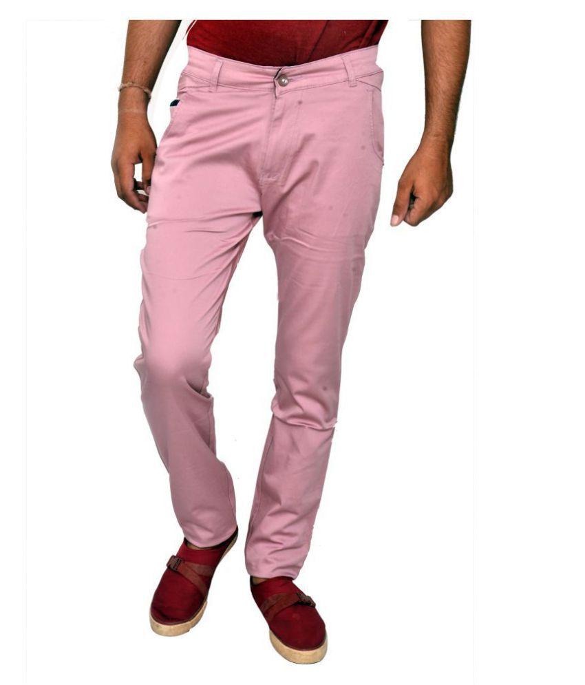 JG FORCEMAN Pink Slim -Fit Flat Trousers