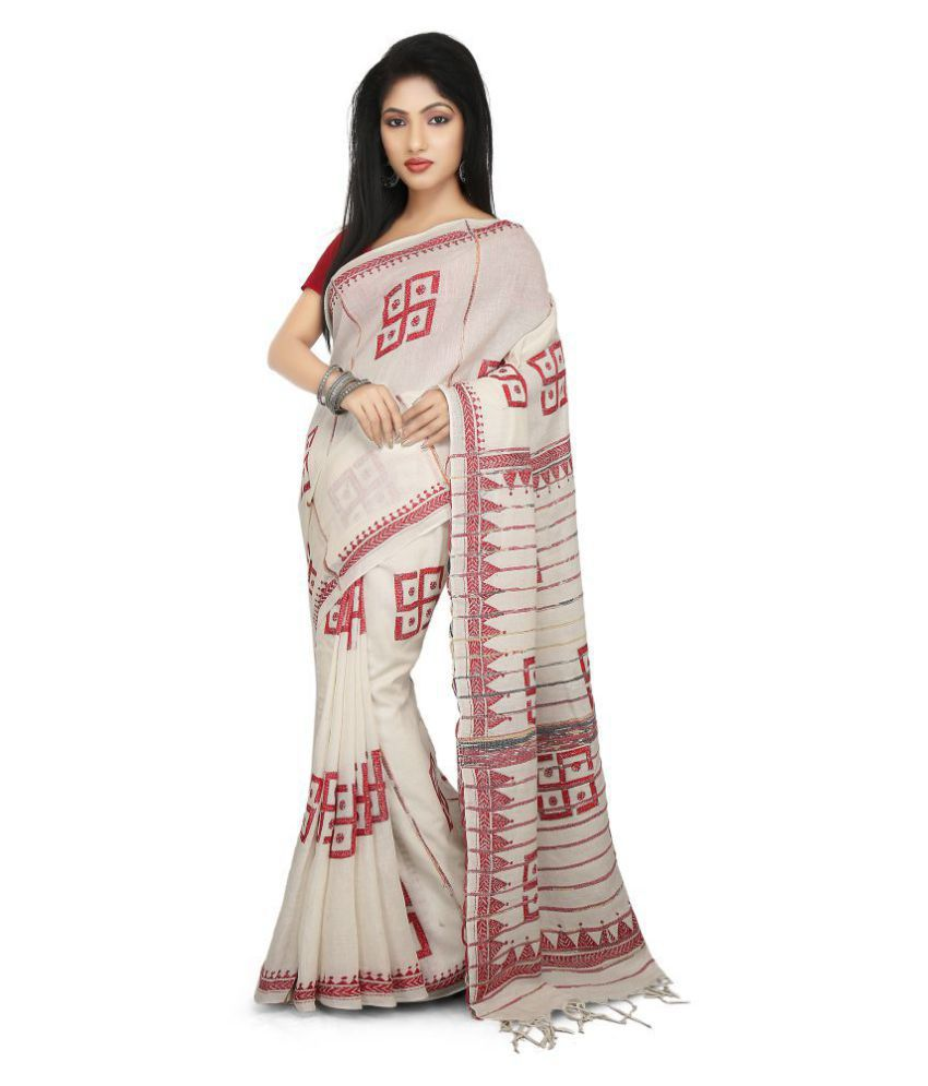 Buymyethnic White Cotton Saree