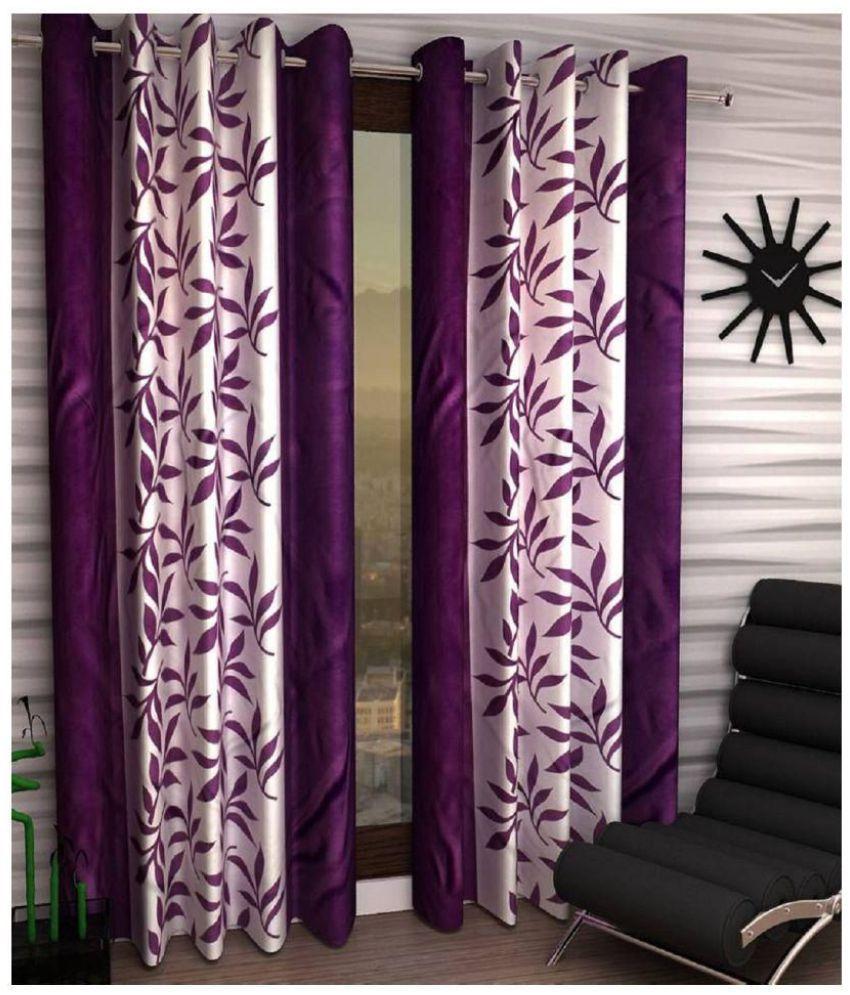 Tanishka Fabs Set of 2 Door Eyelet Curtains Floral Purple