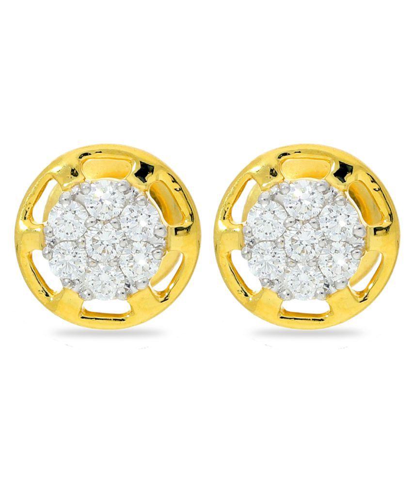 JEWELROOF 18k BIS Hallmarked Yellow Gold Diamond Studs