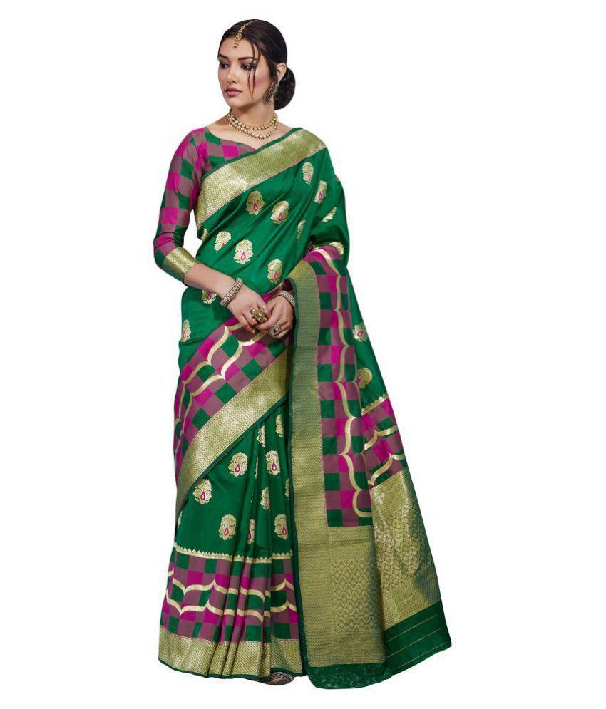 Saree Mall Green Silk Blends Saree