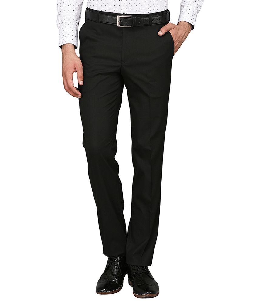 Greenfibre Black Slim -Fit Flat Trousers