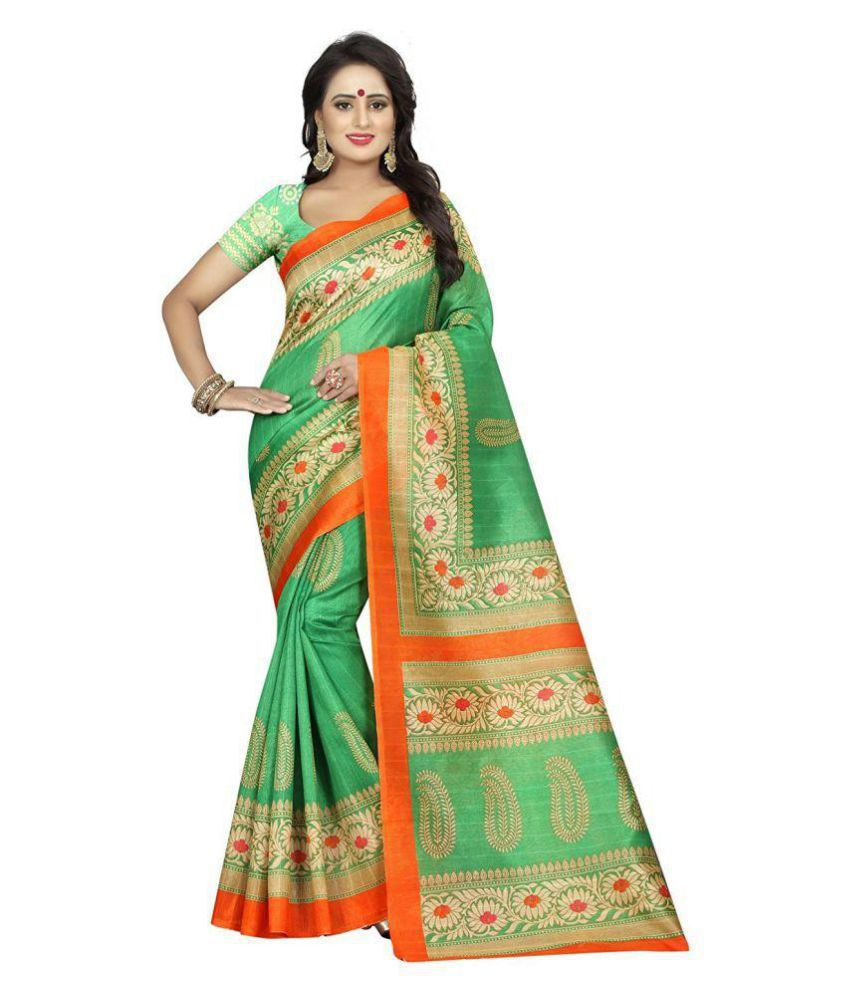 IndoPrimo Green Bhagalpuri Silk Saree