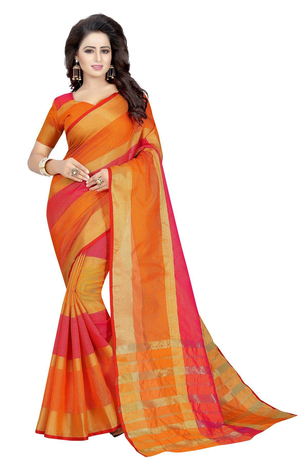Active Feel Free Life Orange Cotton Silk Saree