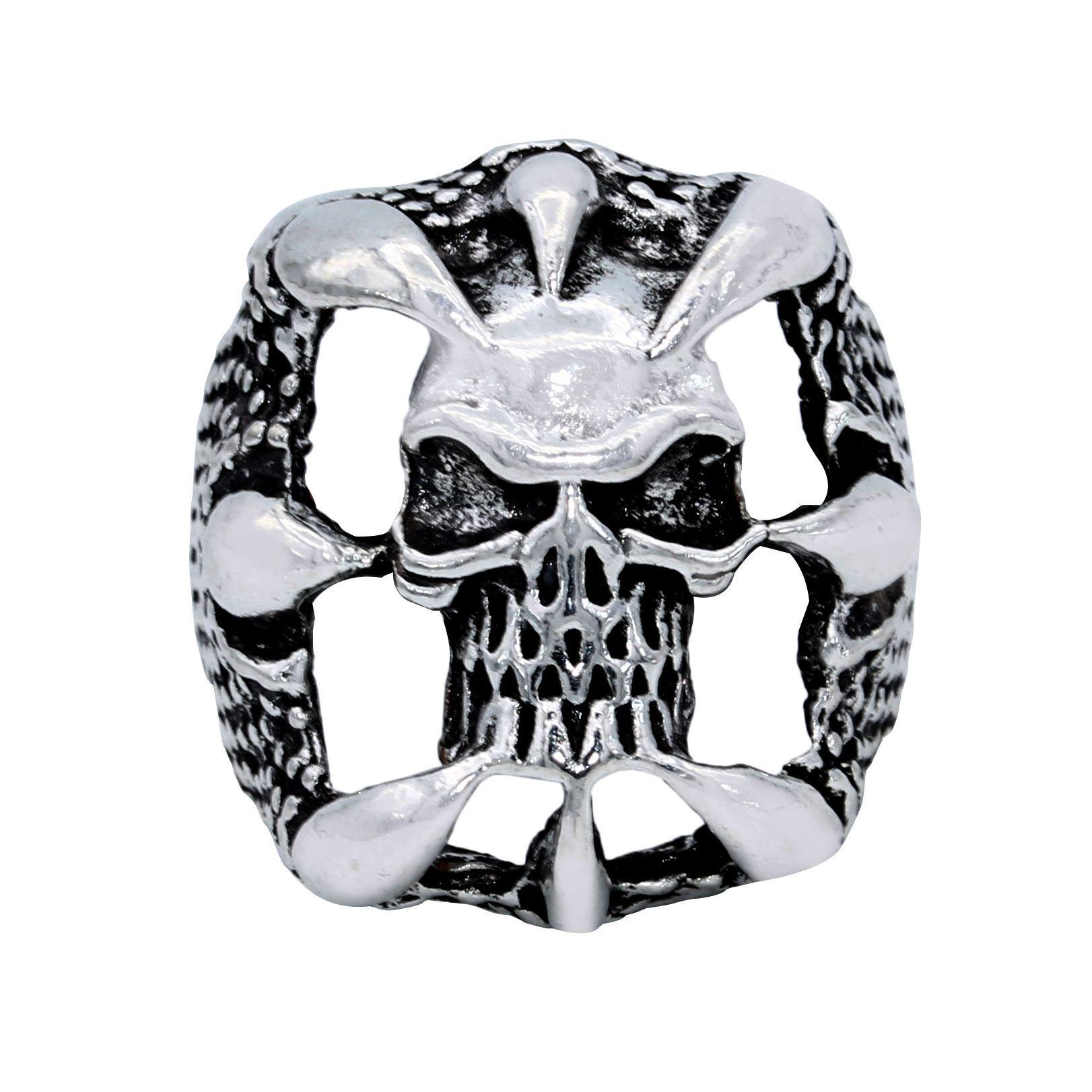 DzineTrendz Brass Silver plated, retro Antique finish, , Skeleton head skull on fire design stylish fashion finger ring Men Boys