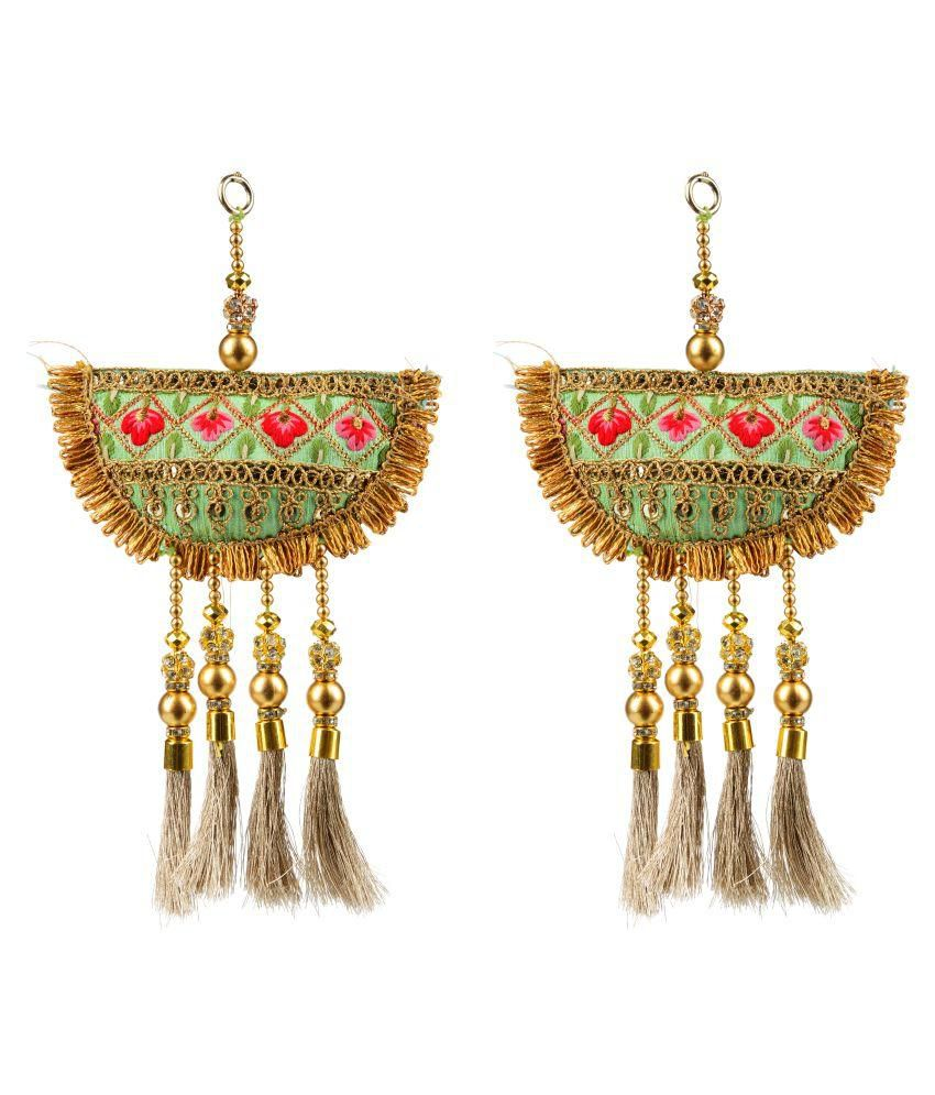 Fabric and Lace Multi Colour Ethnic Hanging Latkans (10 cm x 5 cm x 10 cm, Green, Pack of 2, L106)