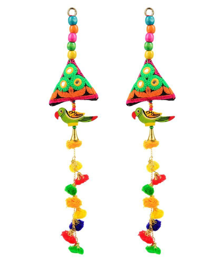 Fabric and Lace Multi Colour Ethnic Hanging Latkans (13 cm x 3 cm x 13 cm, Pack of 2, L136)