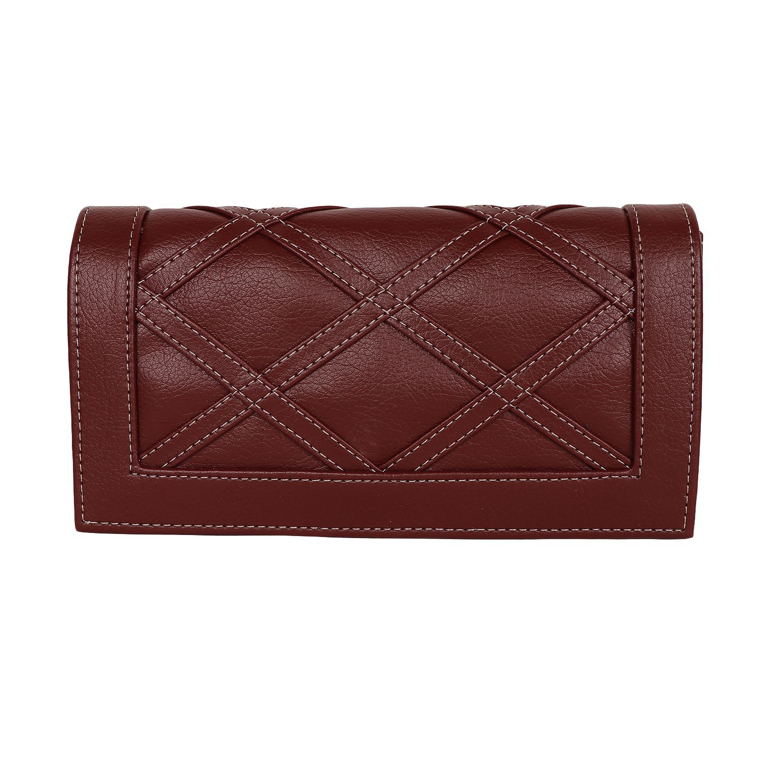 Regalia Maroon Pure Leather Box Clutch