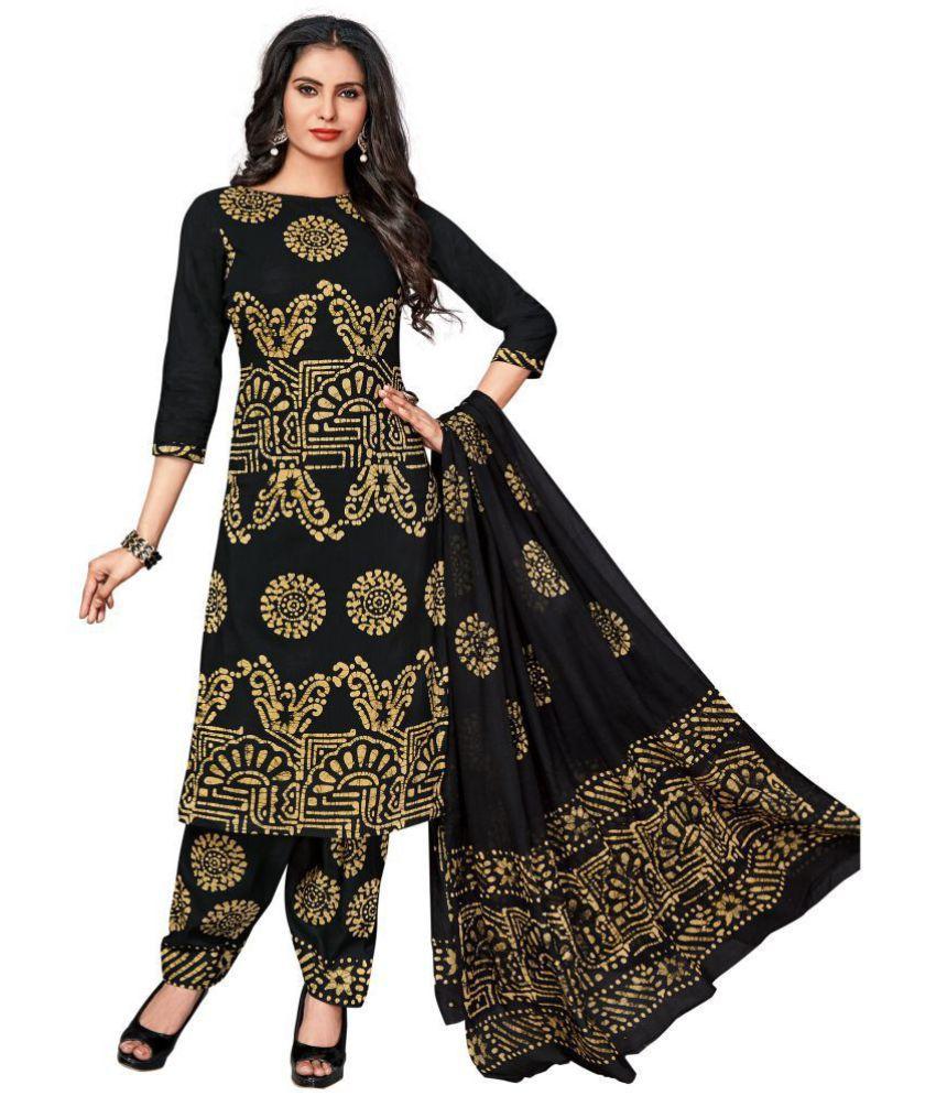Vinay's Black Cotton Dress Material