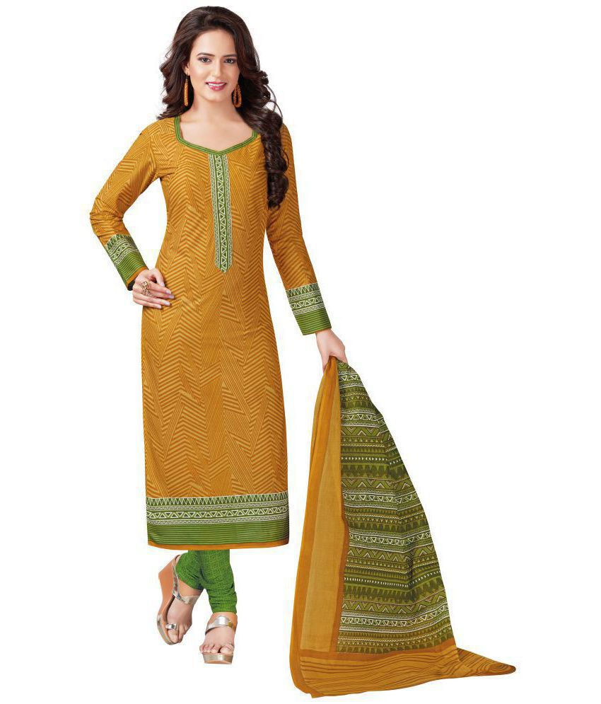 Vinay's Yellow Cotton Dress Material