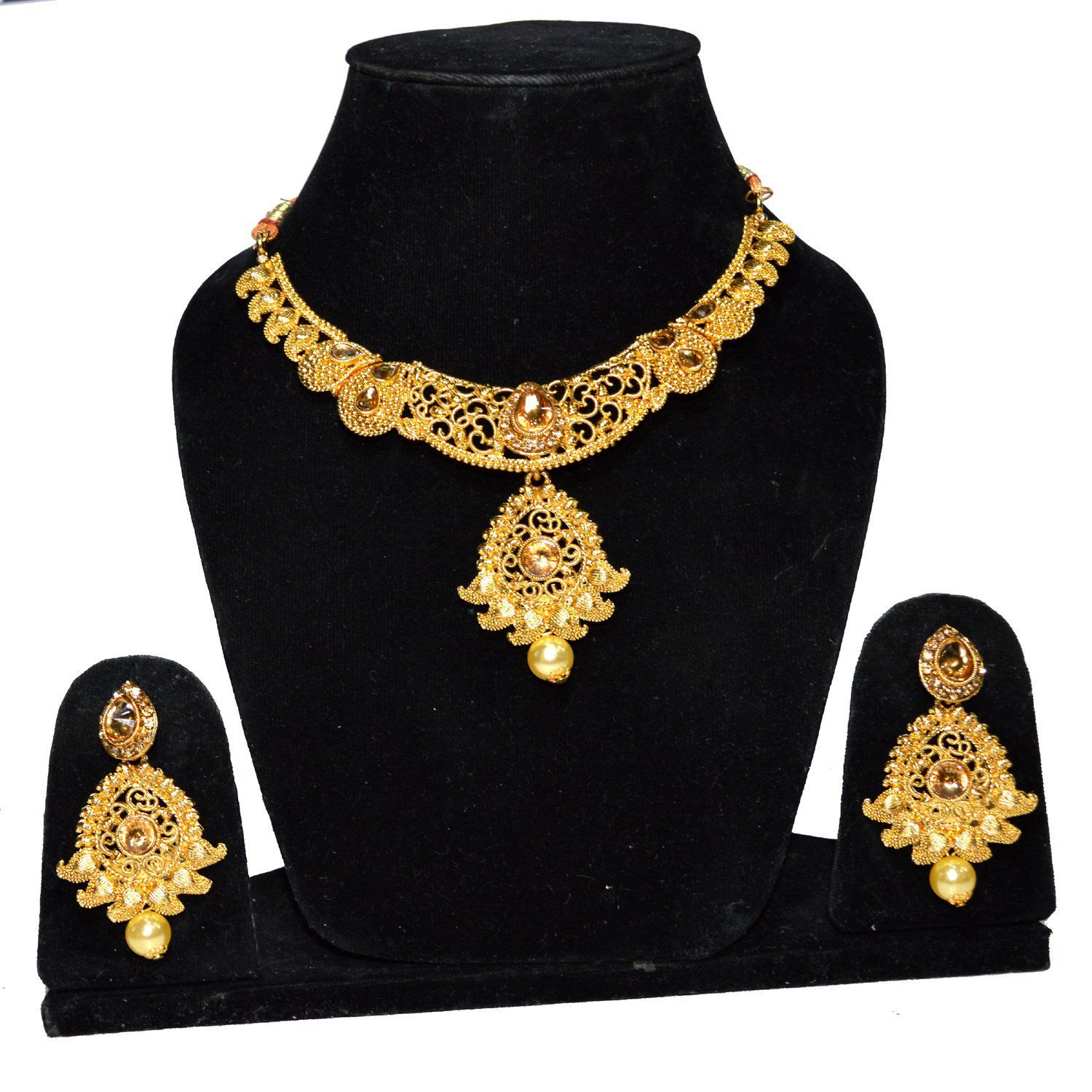 Jewels Kafe Bridal Gold Plated Pearl LCT Stones Necklace Set for Women (Golden)