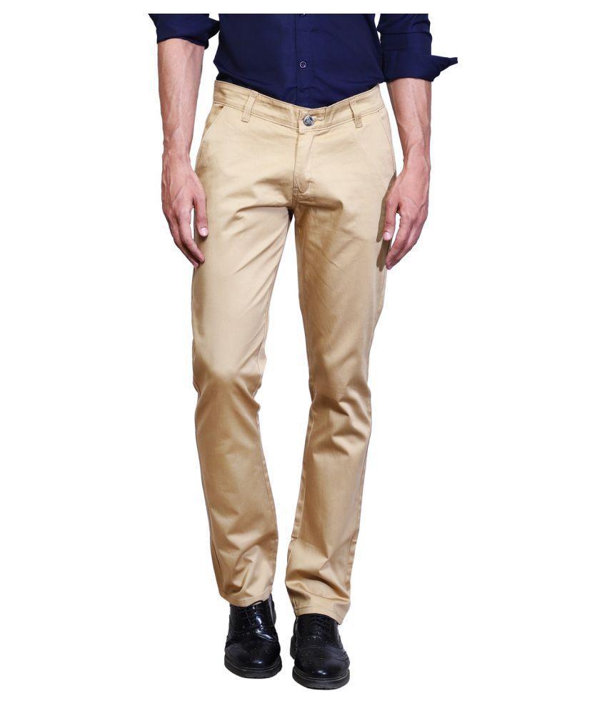 K-SAN Brown Regular -Fit Flat Chinos