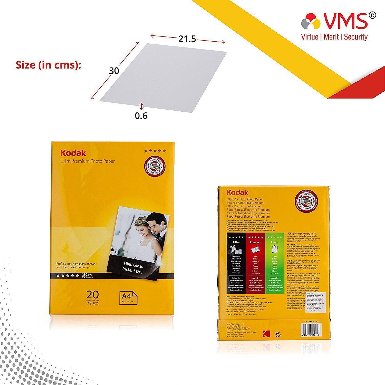 Kodak High Gloss A4 280 GSM  210 x 297mm   set of 3  60 Sheets Photo Paper