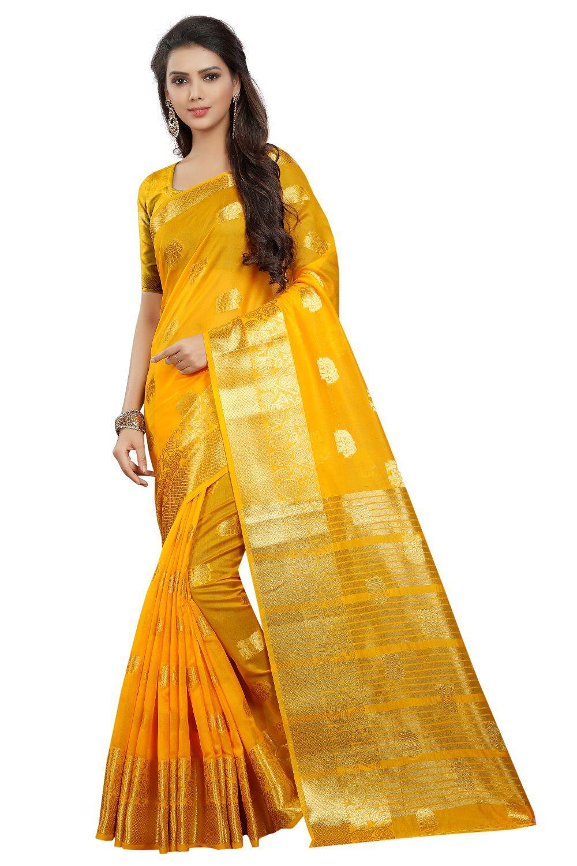 ethnic diwa Yellow Cotton Silk Saree