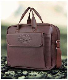 American Tourister Brown P.U. Leather Laptop Bag / Office Bag