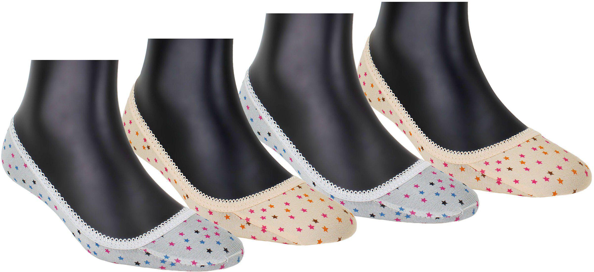 Neska Moda Premium Women's 4 Pair Socks Multicolor Cotton No ShowLoafer Socks With  SiliconGel-S1010