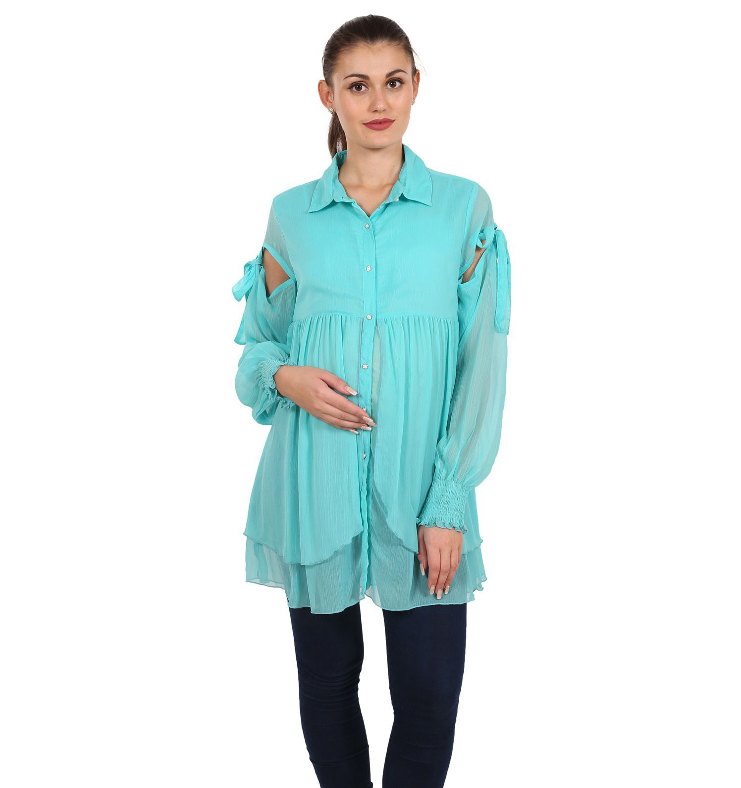 9teenAGAIN Chiffon Maternity Wear Blue Tops