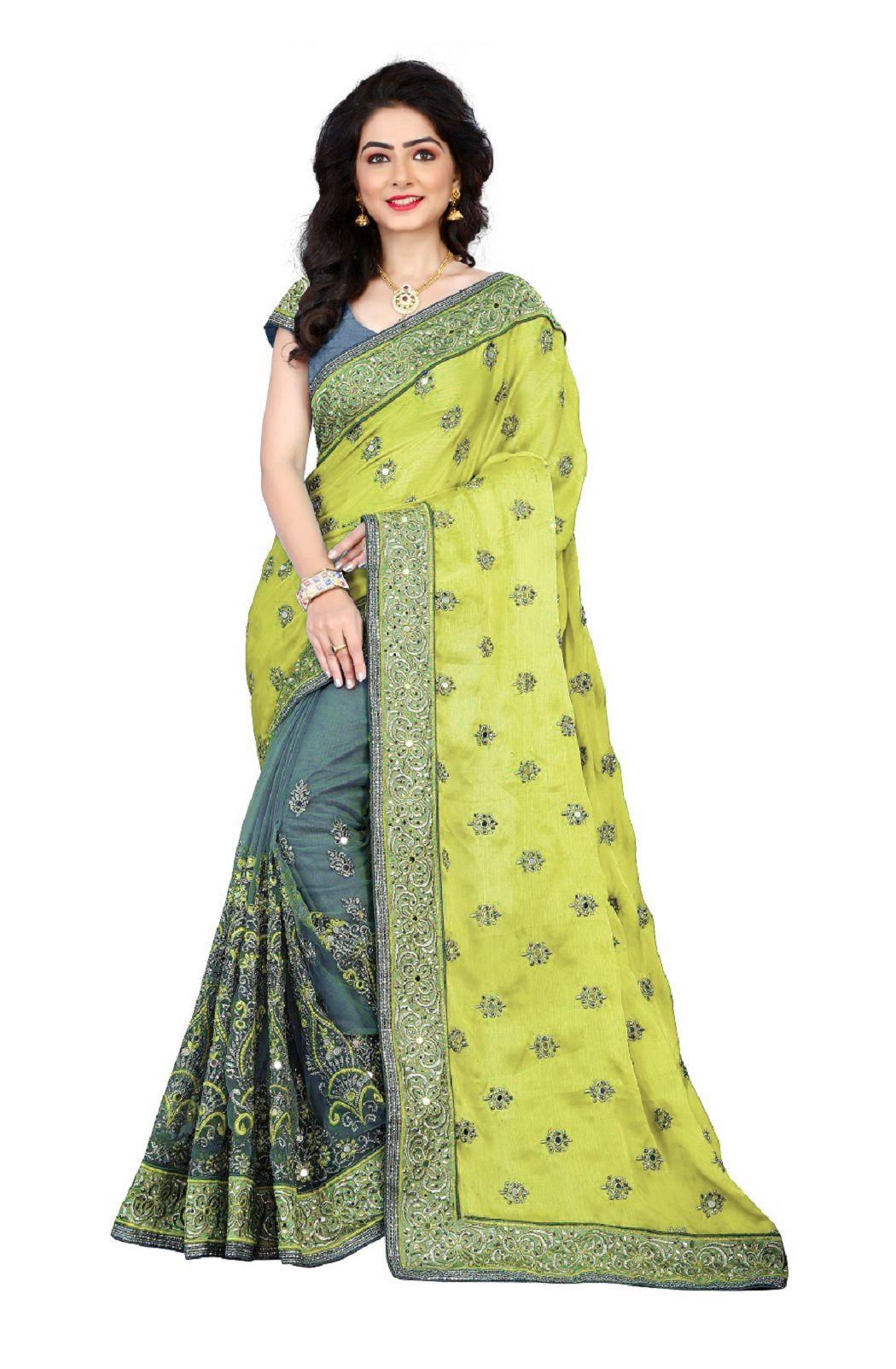 Hani Fashion Green and Yellow Satin Saree