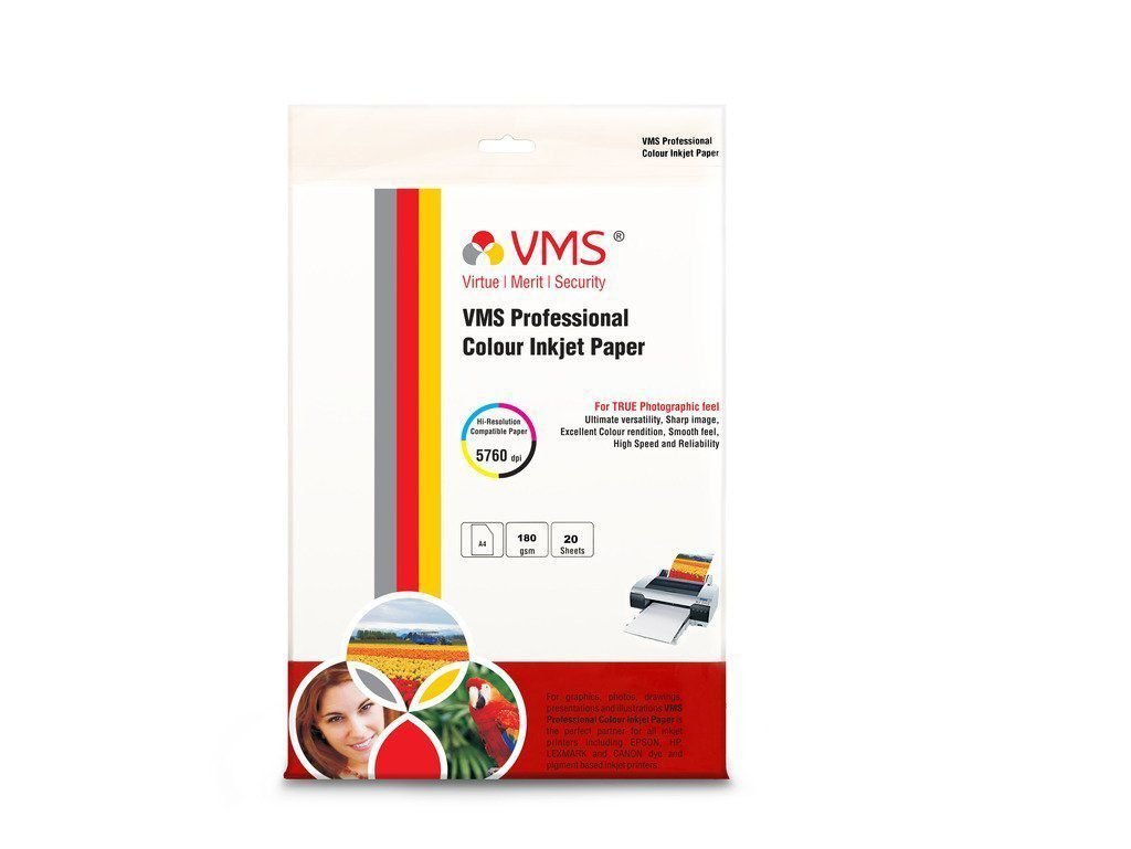 VMS Professional Colour High Glossy Inkjet Photo Paper A4  210 x 297 mm  180 GSM set of 2  20 x 2 = 40 Sheets