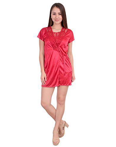 Rajan Traders Satin Night Shorts - Red
