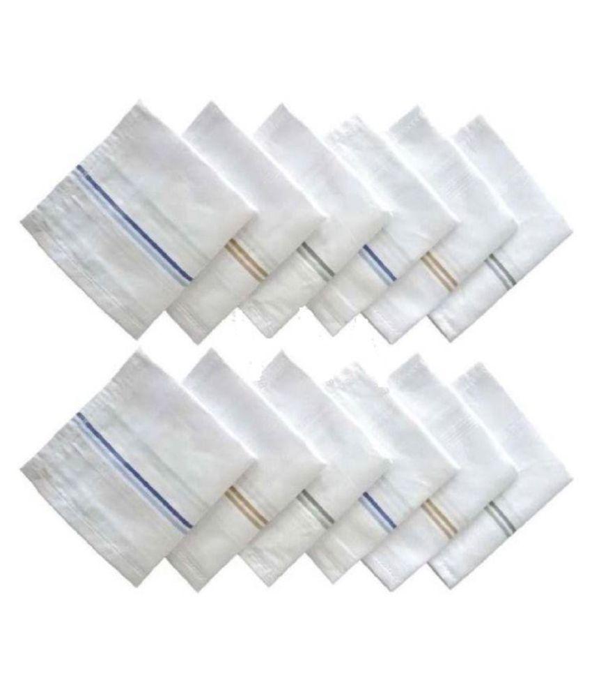 3 White Mens Business Handkerchiefs100/% Pure Cotton Hankies Large 45x45CM Hanky