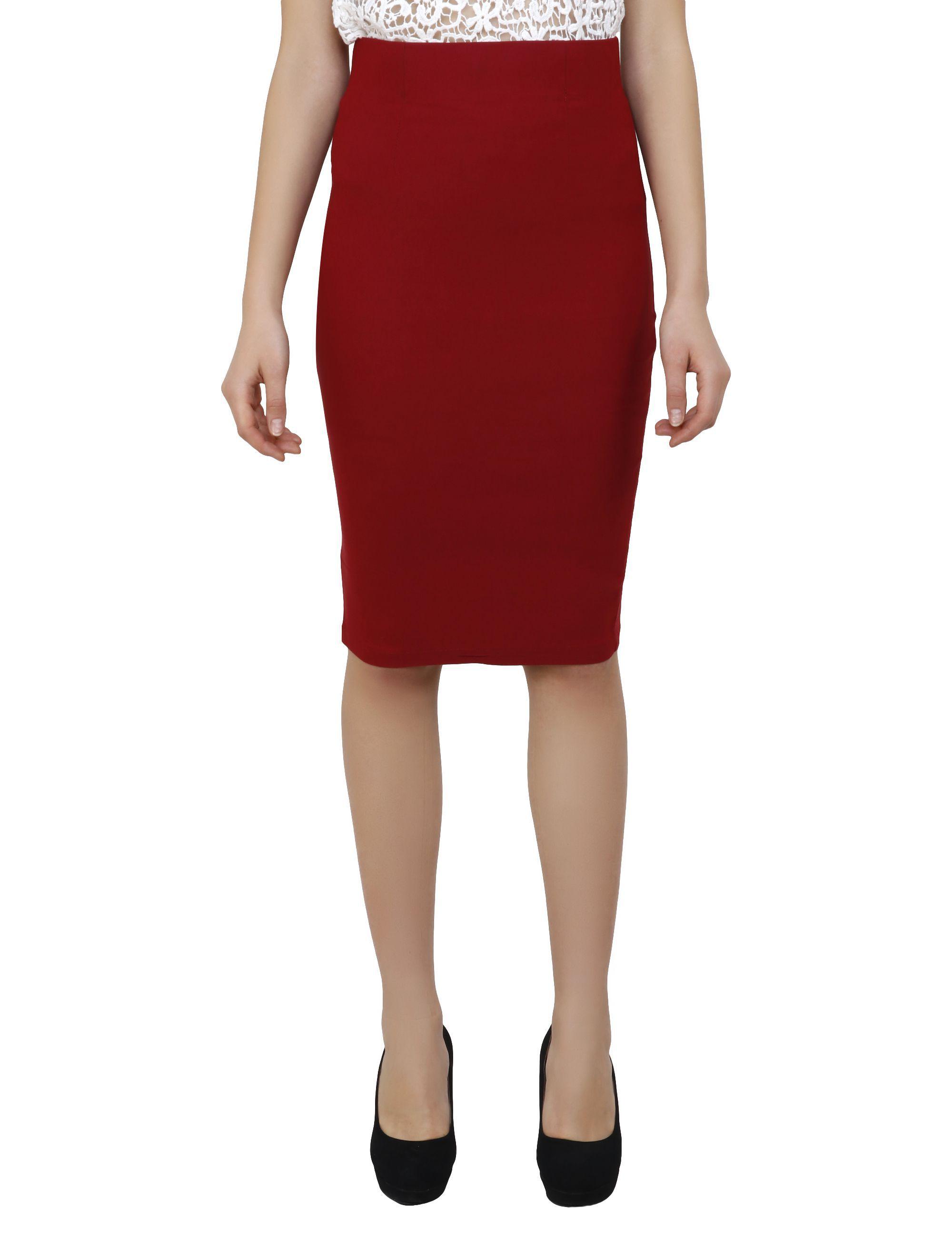 Aadrika Chiffon Pencil Skirt - Red