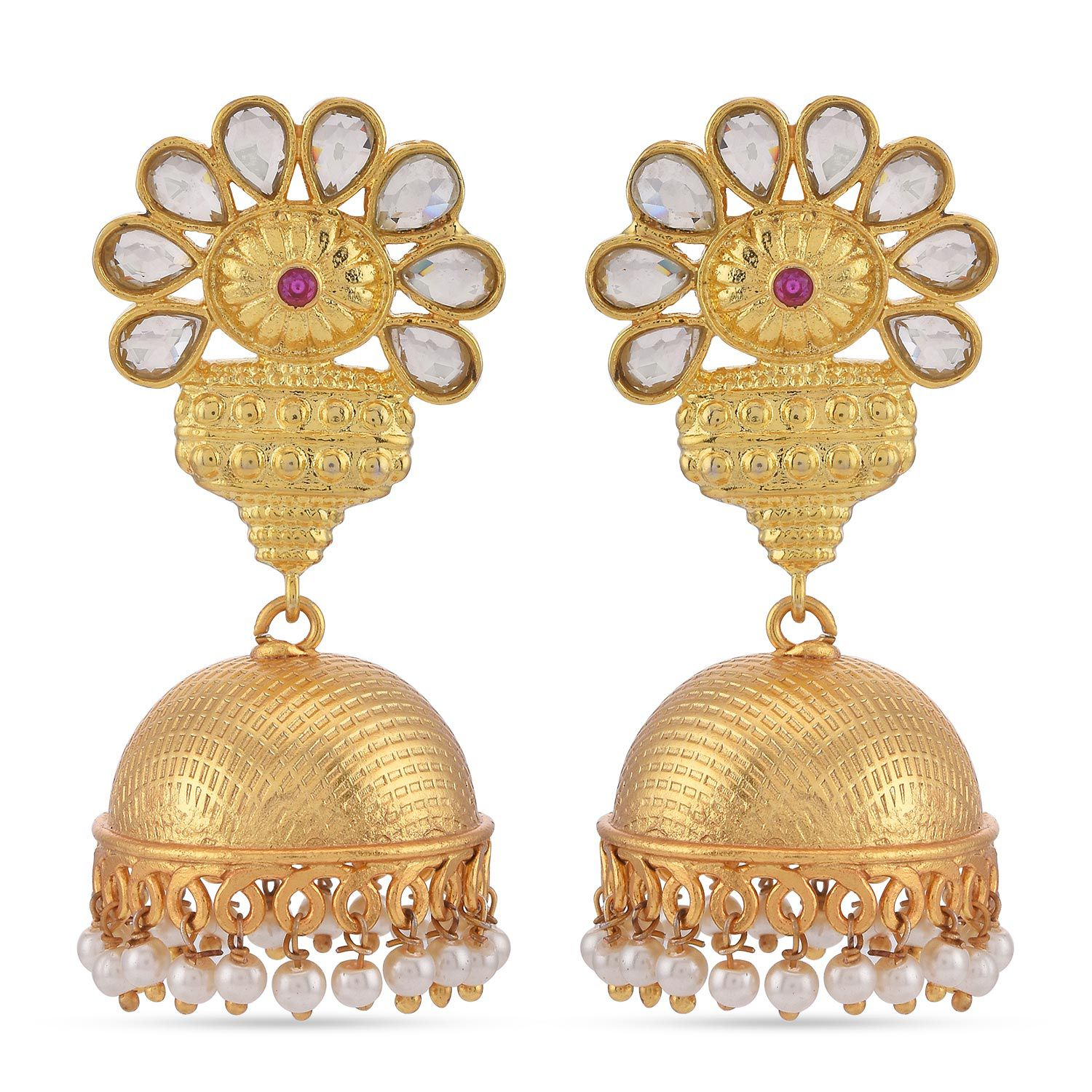 Tistabene Floral Indo Western Kundan Polki Pearls Golden Jhumki Earrings | Gold Plated With Pearl Beads Stylish Fancy Party Wear New Latest Trendy Designer Jhumki Earrings For Girls And Women (ER-3588)