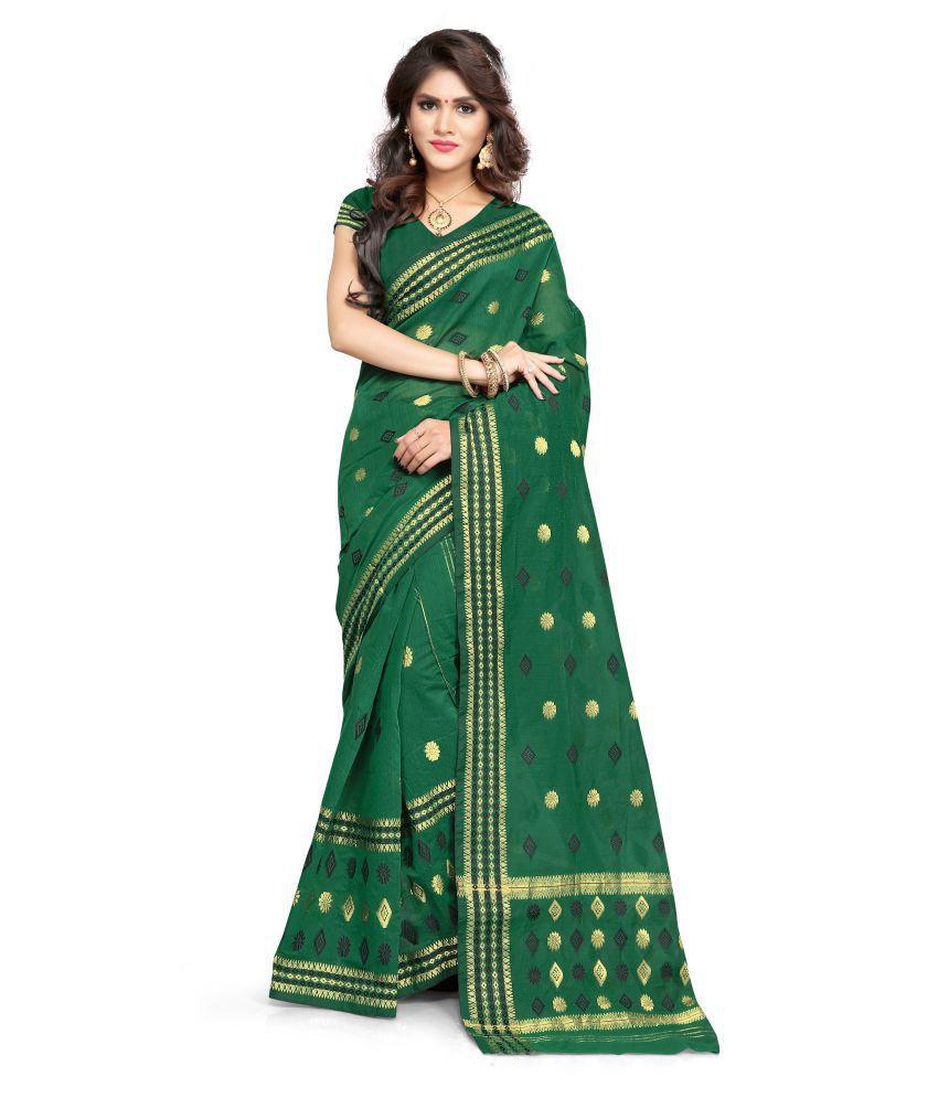 S. Kiran's Green Cotton Poly Mekhla Chador Saree