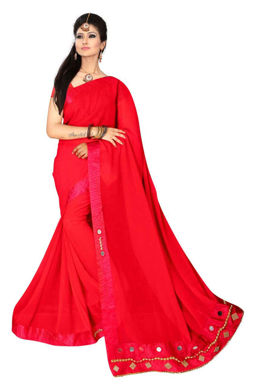 shiwaye Red Chiffon Saree