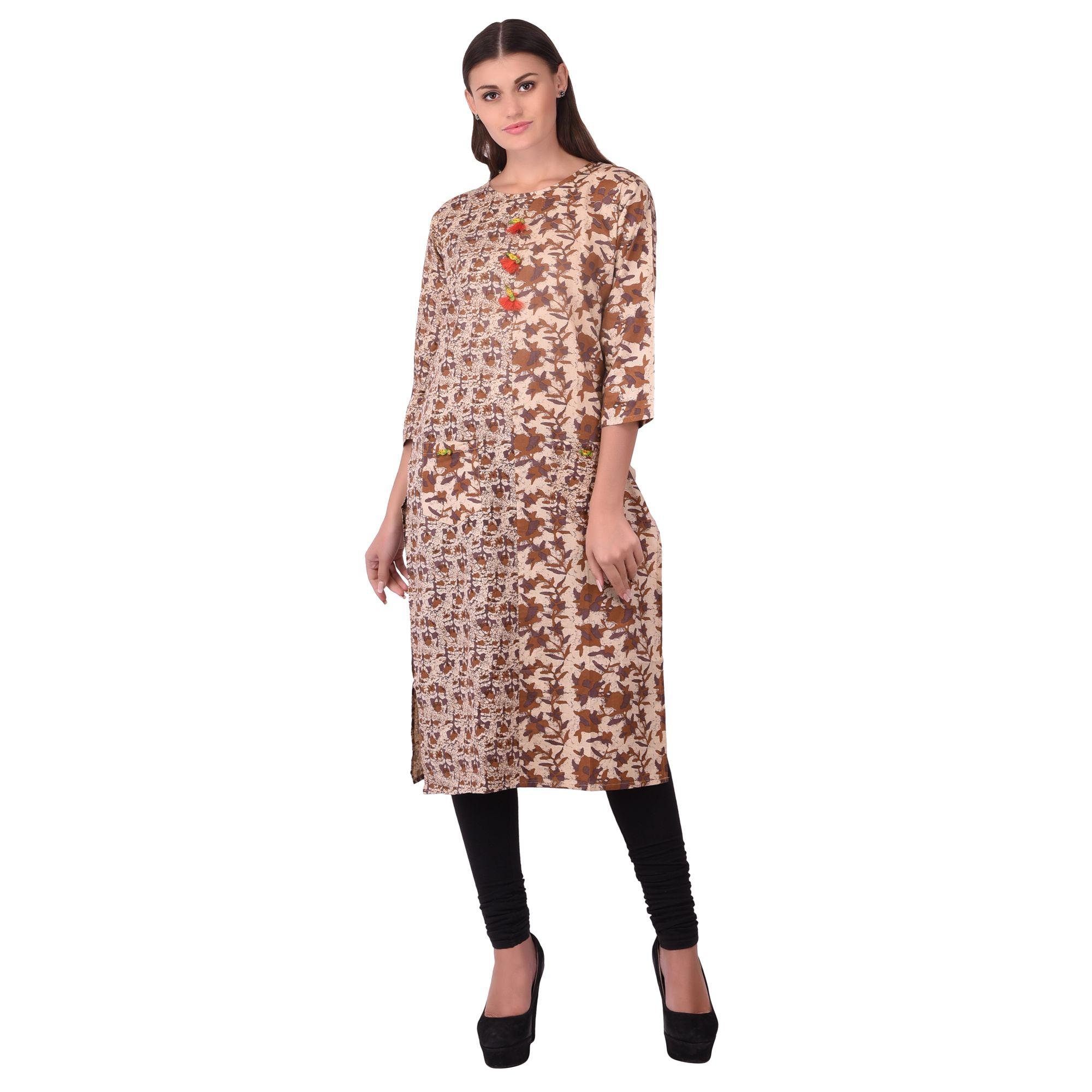 Desi Chhokri Brown Cotton A-line Kurti