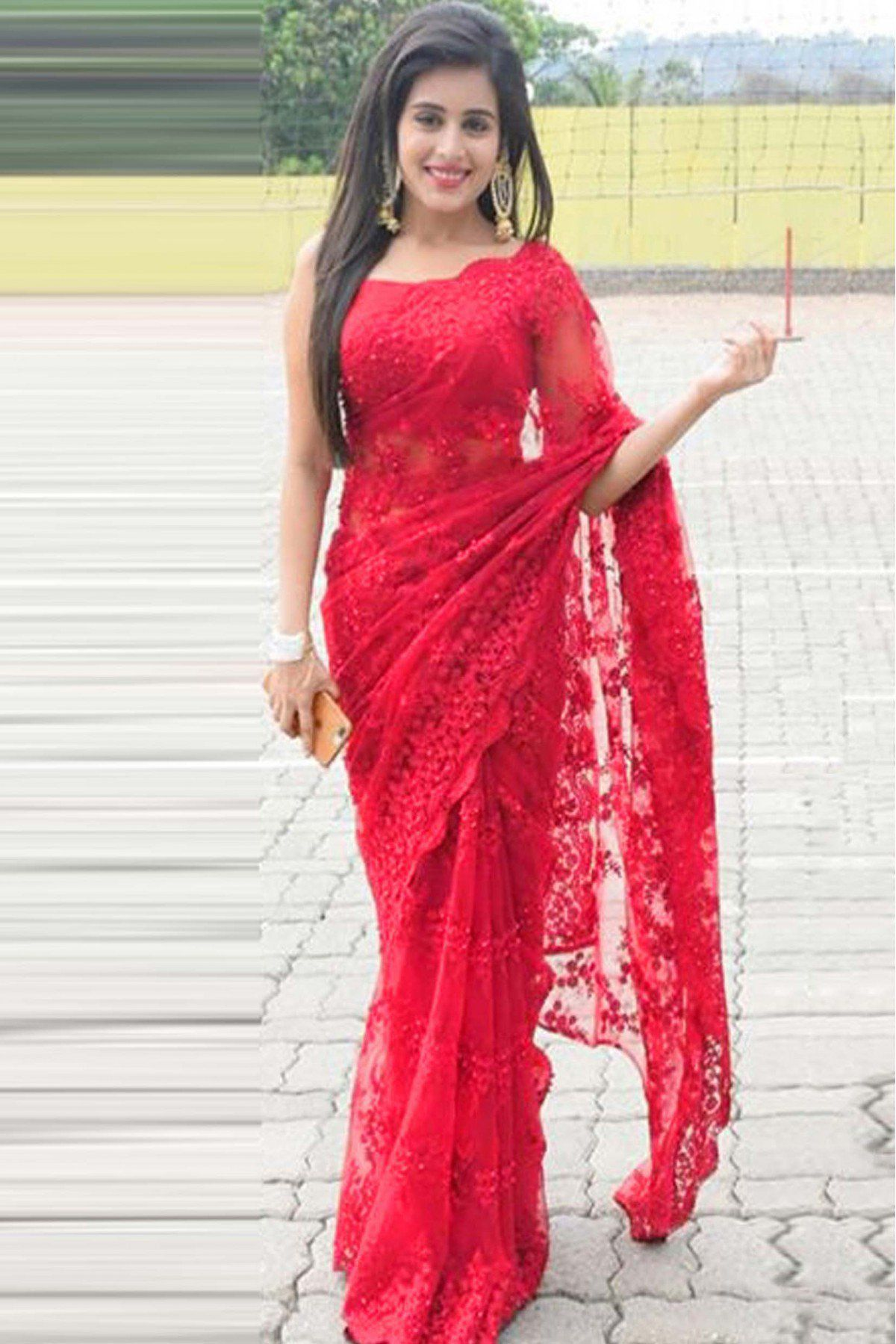 darshita international red net saree buy darshita international