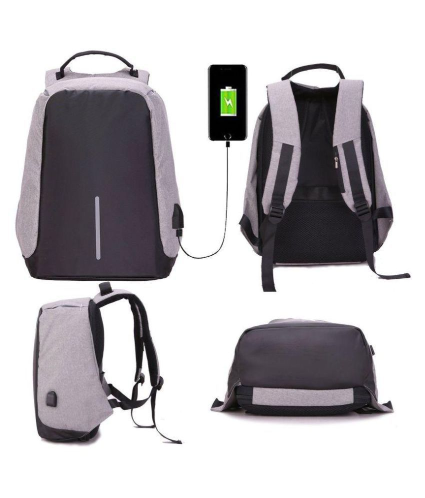 536e979120d5 Defloc Grey Anti Theft Backpacks College Bags With USB Charging Port- 15  Inch