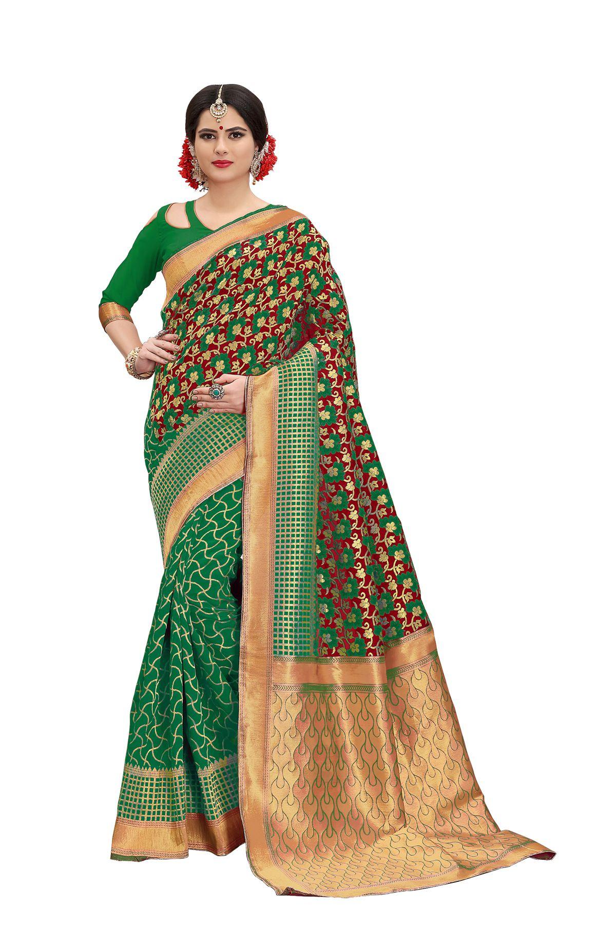 Rekishn Green Banarasi Silk Saree