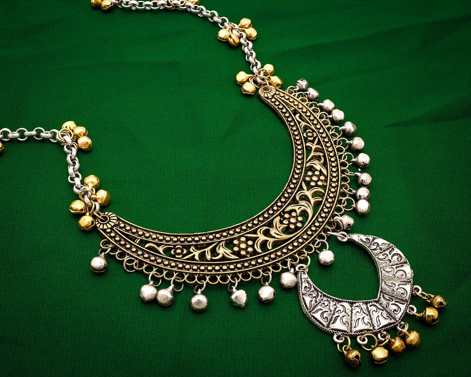 Aadita Ethnic Traditional Royal German Oxidised Tribal Silver Plated Jhunjhune Ghungroo Necklace for Women and Girls