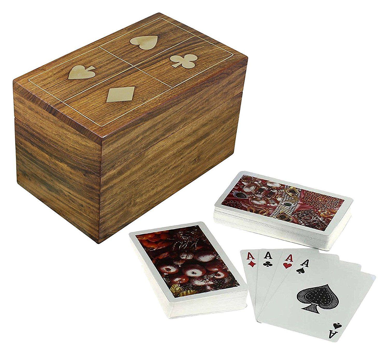 Handmade Wooden Playing Card Deck Holder Cards Decks Vintage Brass Inlay Box