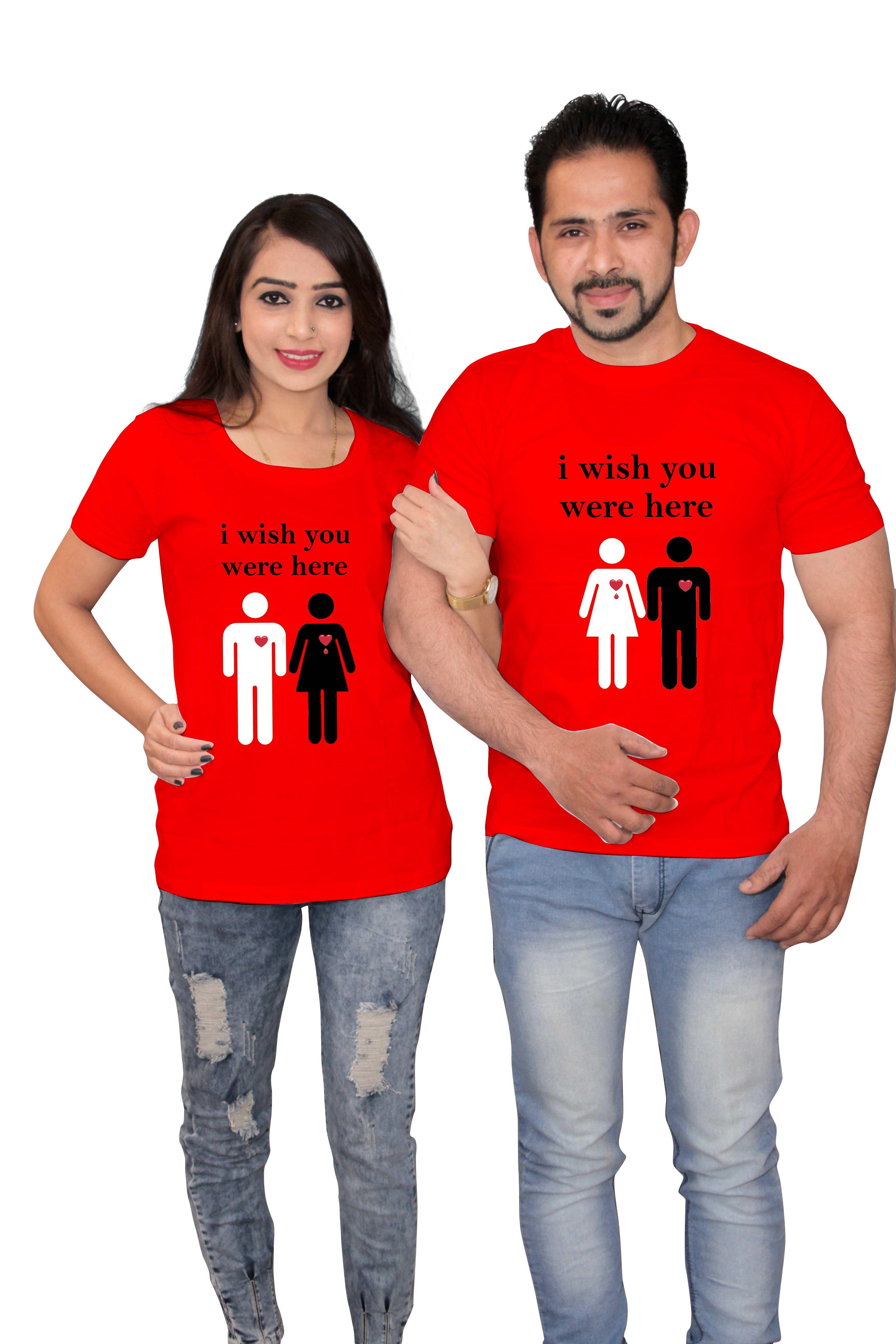J B Trendz Red 100 percent cotton Couple Combo