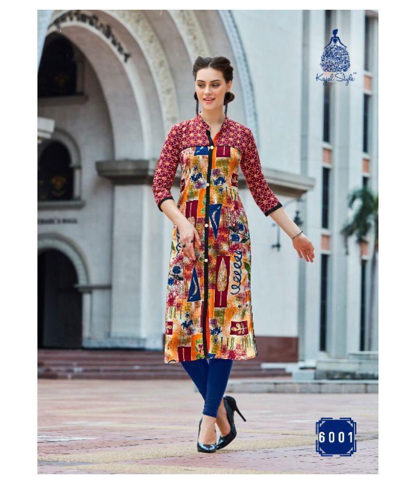 Kurti Fashion Multicoloured Cotton Silk A-line Kurti