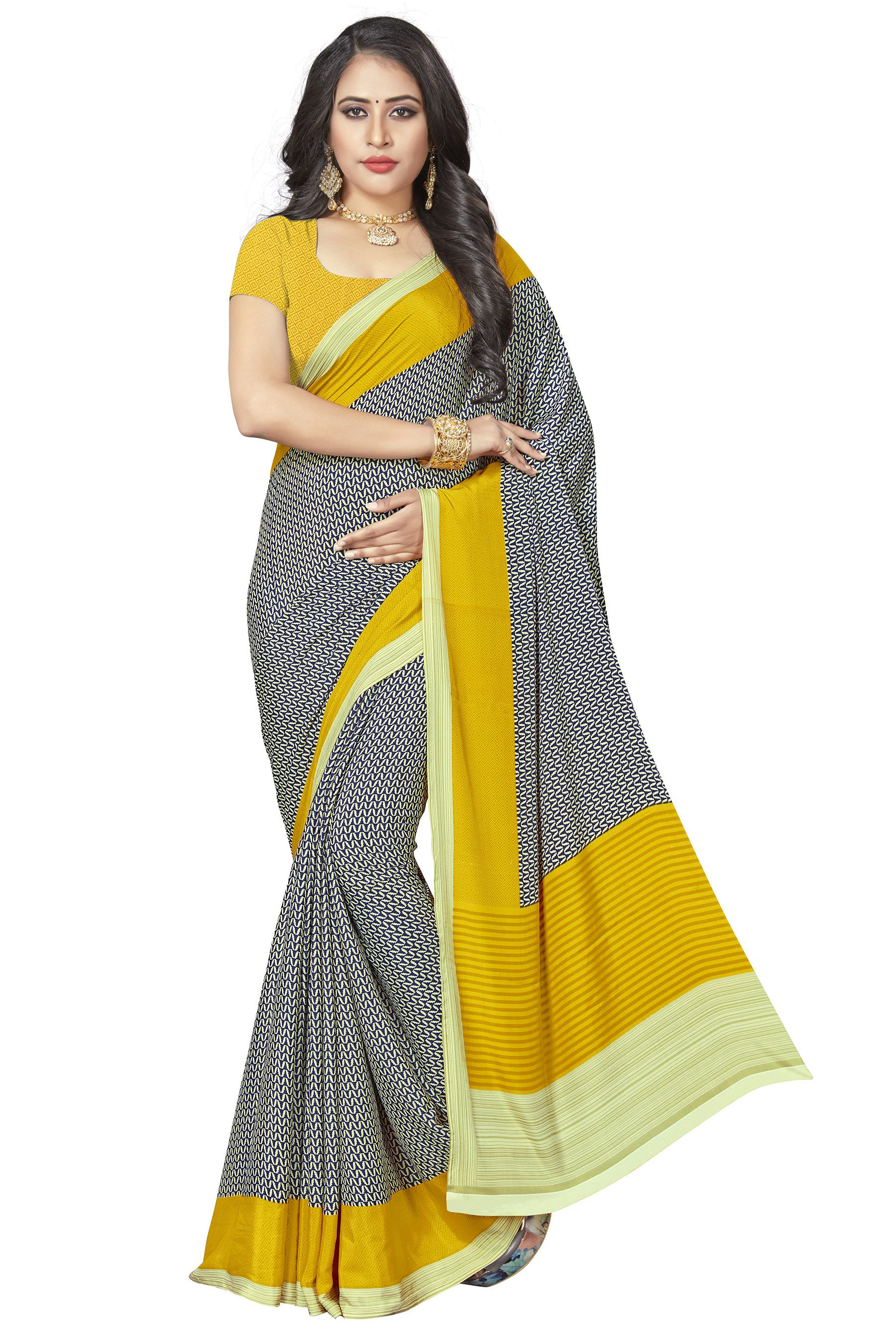 Vardan Prints Grey Crepe Saree
