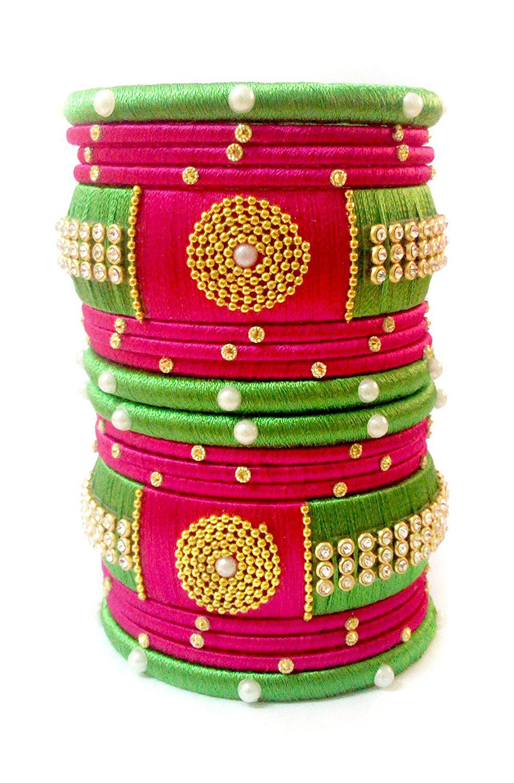 Silk Thread Bangle Set For Woman