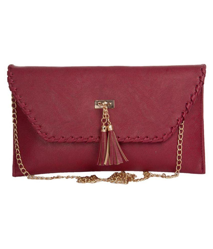 Aliado Maroon Faux Leather Sling Bag