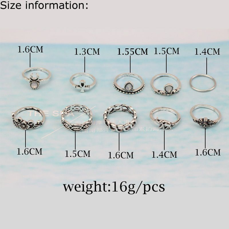 10 Pcs Set Bohemian Rings Set Boho Jewelry Style Rings Buy 10