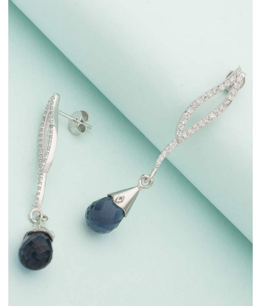 Voylla 92.5 Silver Zircon Drop Earrings
