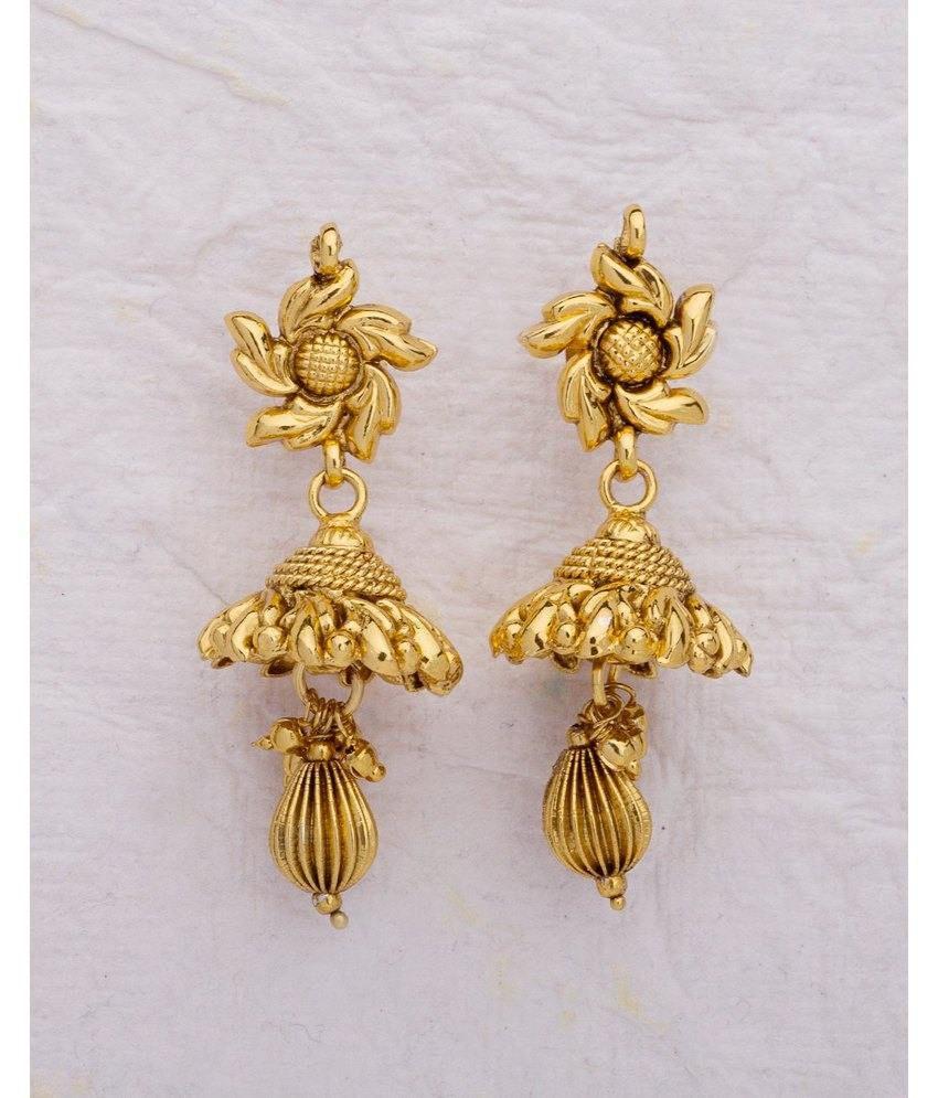 Voylla Glorious Yellow Gold Plated Jhumka Earrings