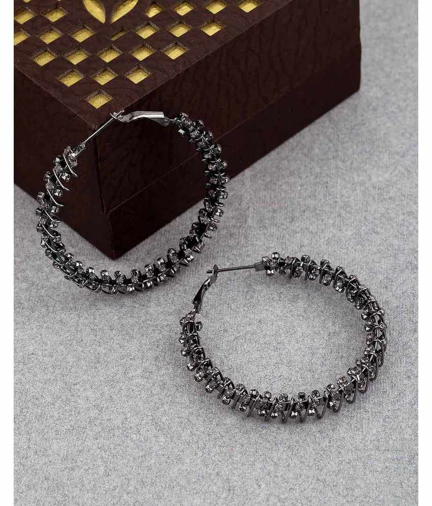 Voylla Grey Stone Wrapped Hoop Earrings from Hoops Colle