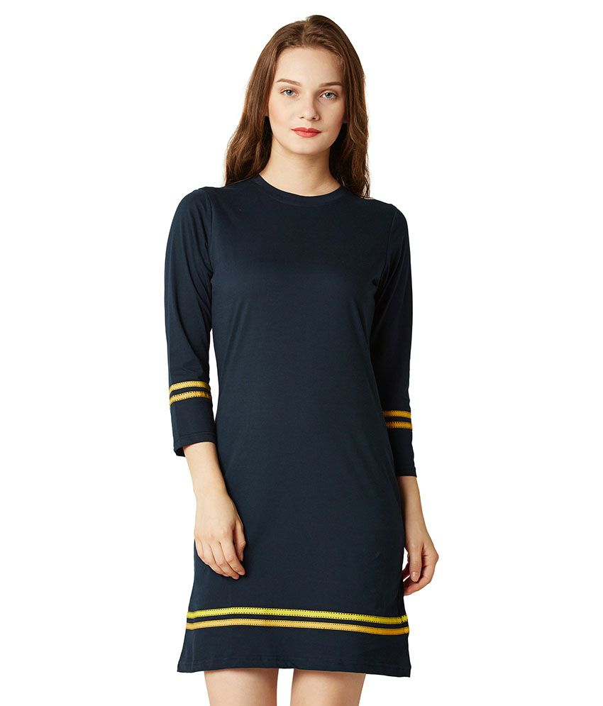 Miss Chase Cotton Navy Shift Dress