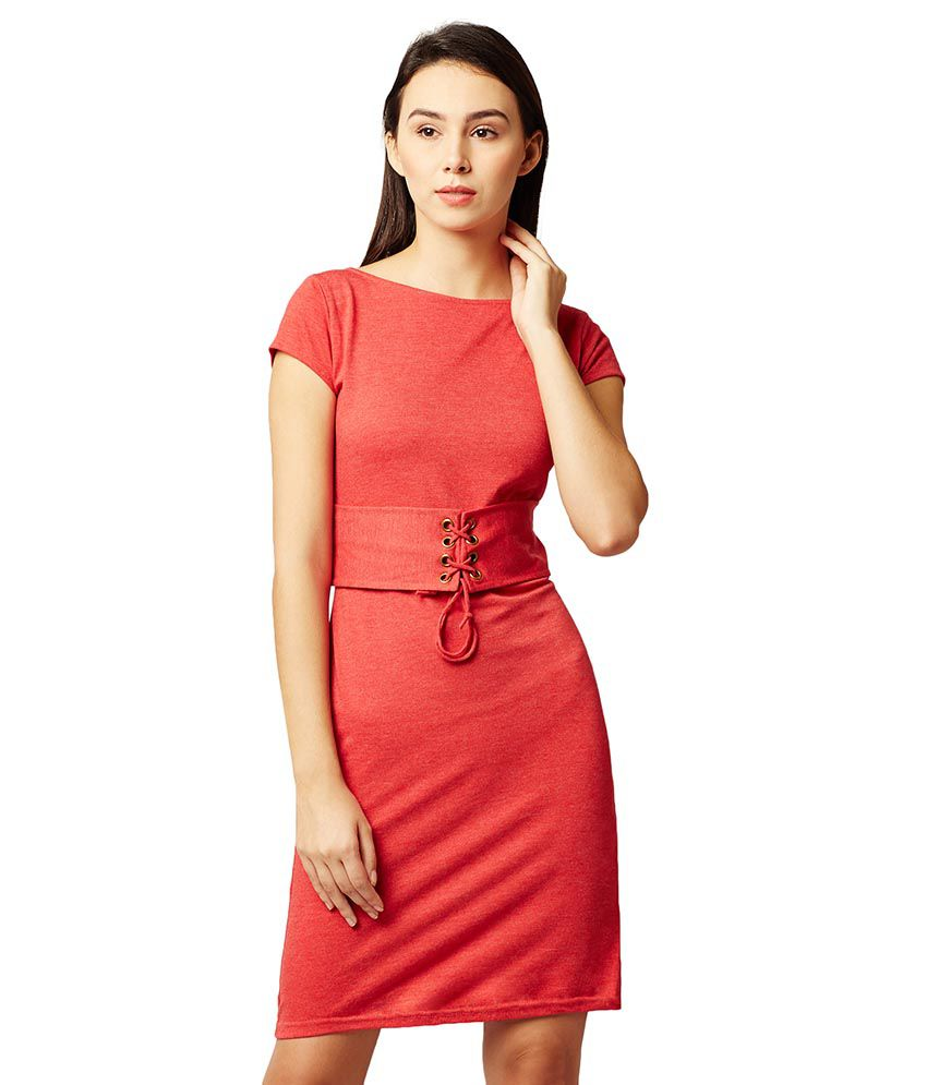 Miss Chase Cotton Red Shift Dress