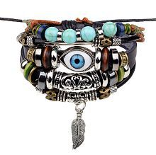 The Jewelbox Punk Turkish Evil Eye Multi Strand Turquoise 100% Genuine Leather Bracelet For Boys Men