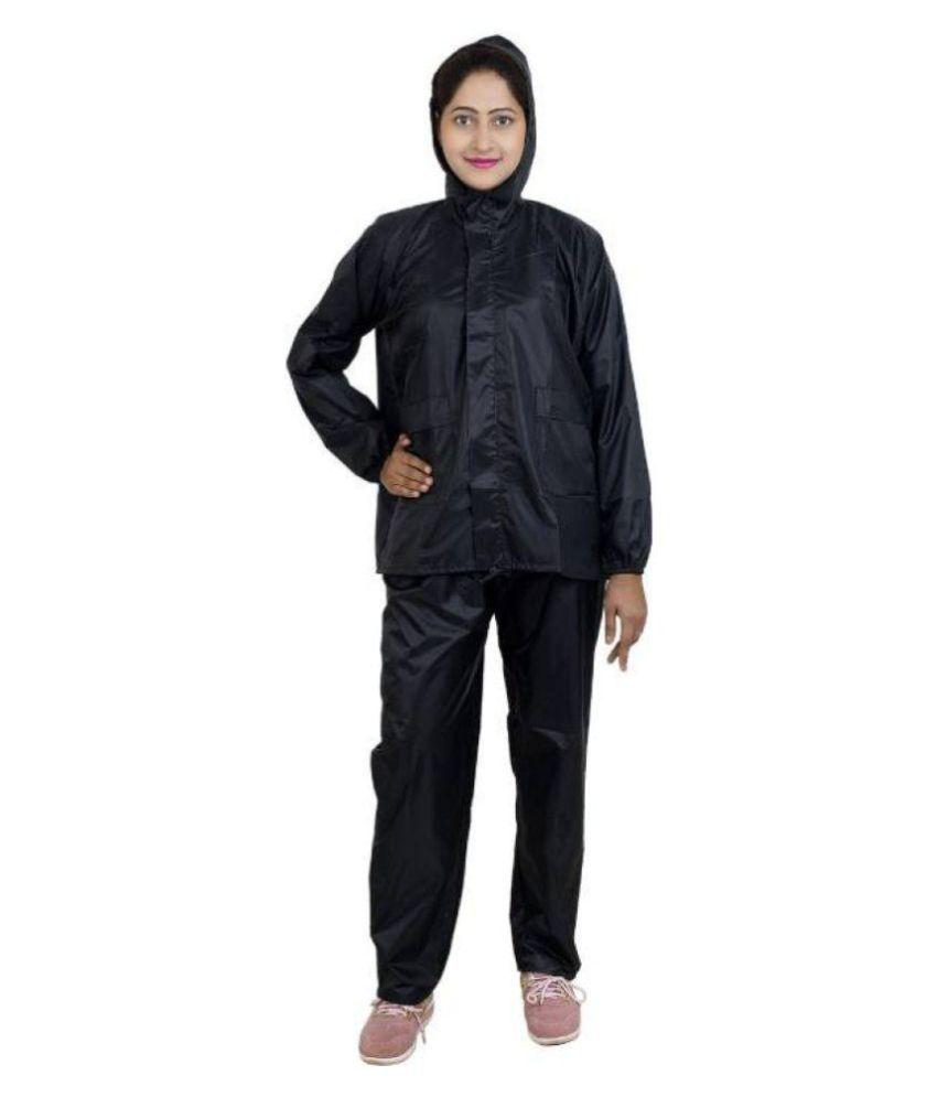 Double Horse Waterproof Raincoat Set - Black