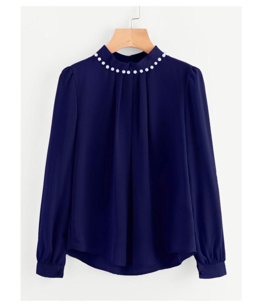 c2b6cf3d9b1 Fabrange Women s Navy Blue Casual Full Sleeves Pearl Top - Buy Fabrange  Women s Navy Blue Casual Full Sleeves Pearl Top Online at Best Prices in  India on ...