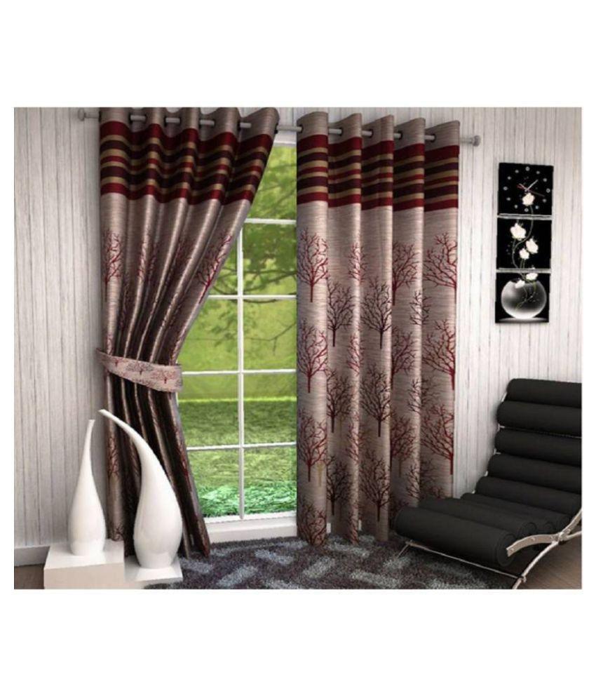 Geonature Set of 2 Door Eyelet Curtains Jacquard Maroon